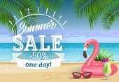 Summer Sale, One Day Lettering With Sea Beach And Swimming Ring. Sale Advertising Design. Handwritte poster