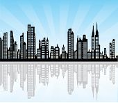 pic of new york night  - vector illustration of the cityscape of New York - JPG