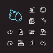 Gas Icons Set. Oil Fossil And Gas Icons With Oil Pump Station, Oil Water Factory And Engine Oil. Set poster