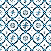 Ship Anchor, Steering Wheel, Compass. Design Of Packing Paper, Wallpaper, Seamless Print Pattern For poster