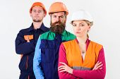 Serious Workers Concept. Team Of Architects, Builders With Serious Faces, Isolated White Background. poster