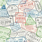 Travel Visa Airport Stamps Seamless Pattern. Traveling Document, Vise To Uk China France Canada Or G poster
