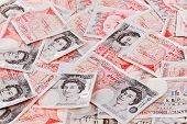 pic of bundle money  - 50 pound sterling bank notes closeup view business background - JPG