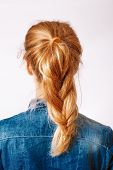 Head Of A Young Woman Look From Behind. Rear View Braid Hairdress. Rear View Portrait Of Attractive  poster