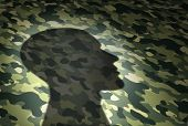 Military Issues Concept And Veterans Affairs Or The Va Security Symbol As The Shadow Of A Soldier On poster