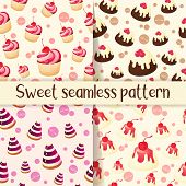 Set Of Colorful Seamless Pattern With Tasty Desserts In Cartoon Style. Cupcake, Jelly, Chocolate Pie poster