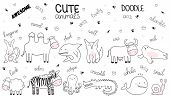 Vector Cartoon Sketch Illustration With Cute Doodle Animals. Perfect For Postcard, Birthday, Baby Bo poster