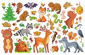 Vector Set With Animals And Birds In A Childrens Style. poster