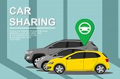 Renting And Carpooling Banner On City Background. Rental Auto Service. Automobile Concept. Car Shari poster