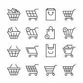 Empty Online Shopping Baskets, Market Box Line Web Shop Vector Icons. Illustration Set Of Basket Sho poster