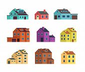 Flat Cartoon Town Houses, Cottage Buildings With Door And Windows. Home Exterior Vector Set Isolated poster