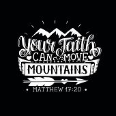 Hand Lettering Your Faith Can Move Mountains On Black Background. Bible Verse. Christian Poster. New poster