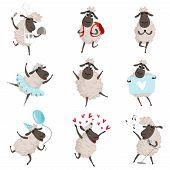 Funny Cartoon Sheeps In Various Action Poses. Lamb Mascot Animal, Character Mammal Adorable. Vector  poster