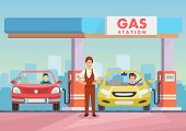 Cartoon Image Gas Station Worker Refilling Cars By Petrol. Clipart. Cartoon Flat Vector Illustration poster