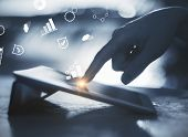 Hands Using Laptop With Digital Business Interface On Blurry Backlit Background. Hologram And Financ poster