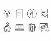 Set Of Corrupted File, Idea And Elevator Icons. Internet Downloading, Copy Files And Accounting Sign poster