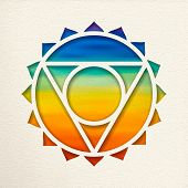 Vishuddha, 5th Throat Chakra Illustration In Paper Cut Style. Colorful Watercolor Background, Yoga S poster