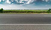 Highway Overpass Motion Blur With City Skyline Background . Sunset Scene City, Road, Asphalt, Highwa poster