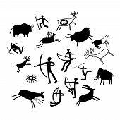 Cave Painting. Stone Paintings Vector Illustration, Cave Wall Ancient Prehistoric Primitive Rock Dra poster