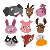 Animals Character Design, Cute Animals Collection, Face Animals Collection poster
