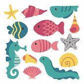 Sea Animals Collection, Marine Life Collection, Sea Animal Set, Sealife Background, Aqurium Collecti poster