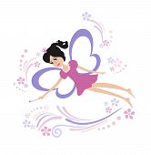 Fairy Flying With A Magic Wand. Vector Illustration Of Fairy With A Magic Wand Isolated On White Bac poster