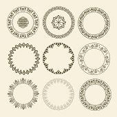 Greek National Antique Round Pattern. Circle Ornament Meander. Round Frame poster