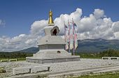 View Of  Buddhist Stupa Sofia In The Retreat Center Plana - Diamondway Buddhism Bulgaria Near By Vit poster