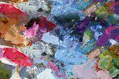 Oil Paint Palette. Paint Palette with various colors of oil paint. poster