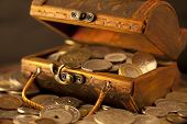 stock photo of treasure chest  - treasure of gold coins - JPG