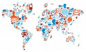 picture of political map  - Social media network icons in world map shape concept - JPG