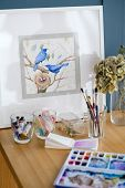 Art Painting. Inspiration And Creative Workspace Concept. Picture Of Birds. Drawing Creations. Artis poster