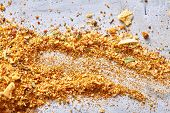 Smear Of Turmeric On White Background, Top-view, Close-up, Macro, Shallow Depth Of Field. Abstract F poster