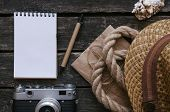 Blank Tourist Or Adventurer Notepad Diary Book. To Do List. Note Book, Photo Camera, Rope, Hat And S poster