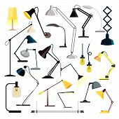 Lamp Set Vector. Table Desk Office Modern Lamps. Different Indoor Electricity Creative Light. Home,  poster