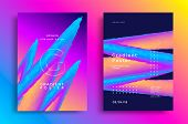 Creative Design Poster With Vibrant Gradients Shapes. Colorful Bright Backgrounds. Vector Template F poster