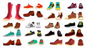 Footwear Set Vector. Stylish Shoes. For Man And Woman. Sandals. Different Seasons. Design Element. F poster