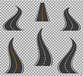 Road Icons Footpath Bending And High Ways. Road Curves Geometric Design Vector Illustration. Street  poster