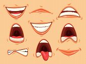 Set Of Isolated Mouth With Lips And Teeth, Tongue Showing Emotions Of Horror And Happiness. Facial S poster