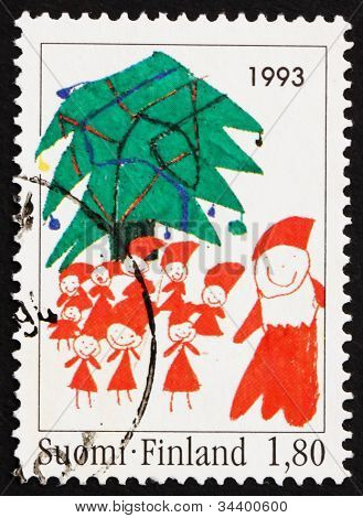 Postage stamp Finland 1993 Santa and Christmas Tree