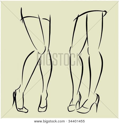 art  background with beautiful young woman feet sketch vector