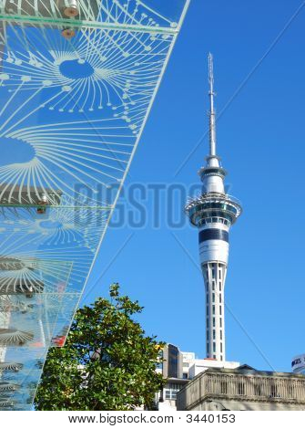 Skytower And Stylish Glass Roof Design With Bule Sky Background