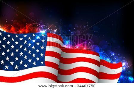Ilustración de la bandera americana en antecedentes que brilla intensamente
