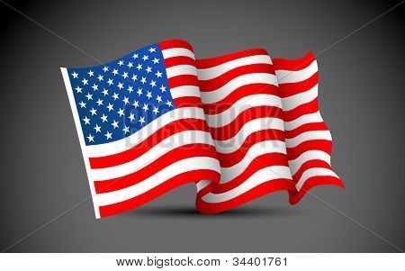 illustration of waving American Flag on dark background