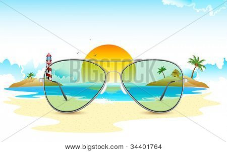 illustration of sea view through sun glasses