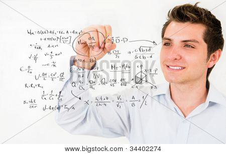 Male student writing math formulas�¢�?�? education portrait