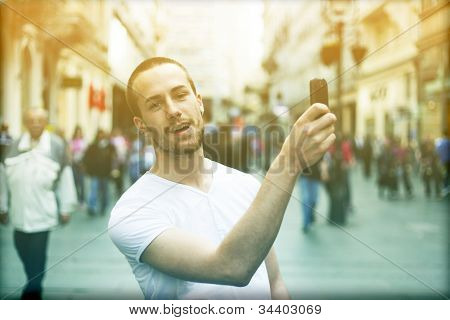 Man With Smartphone Take Photo