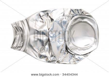 Crushed aluminum bottle