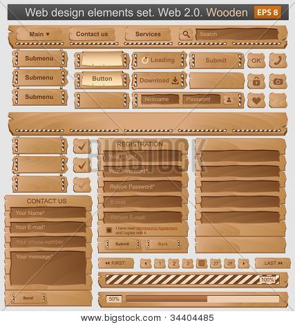 Web design elements set wooden. Vector