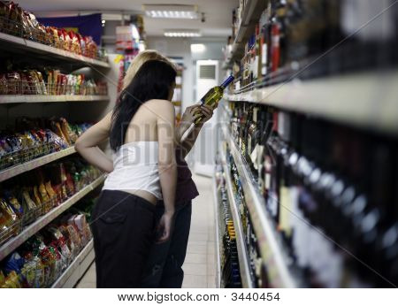 Two Girls In A Supermarket